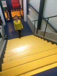 yellow brick stairs!